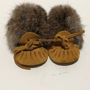 Other - MOCCASINS leather and fur made in CANADA (baby)